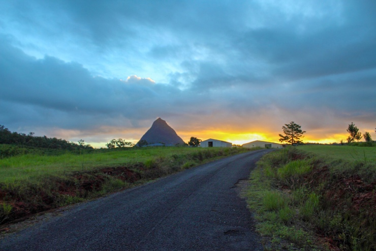 Sunset over Glass House Mountains