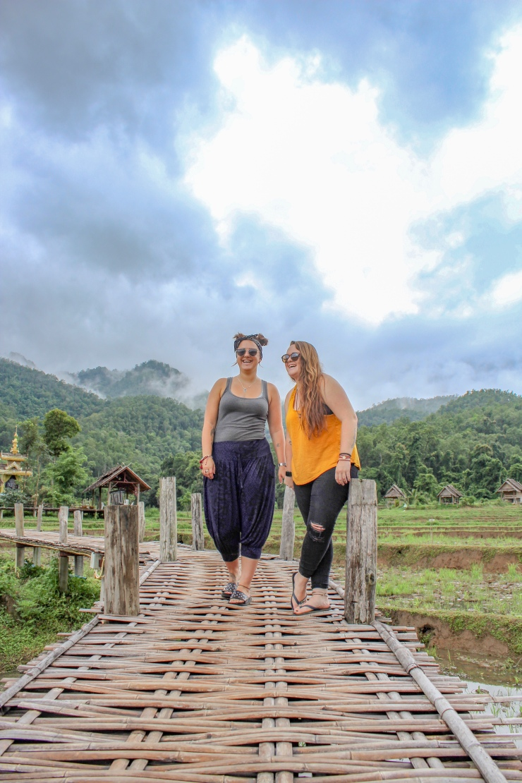 Incredible views of the rice paddies and mountains from thee Pai Bamboo Bridge in Pai