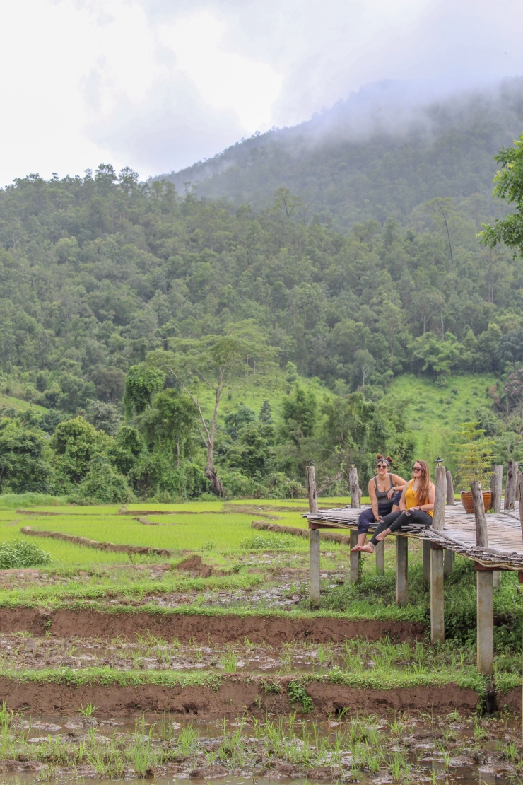 Incredible views of the rice paddies and mountains in Pai from the Bamboo Bridge Pai