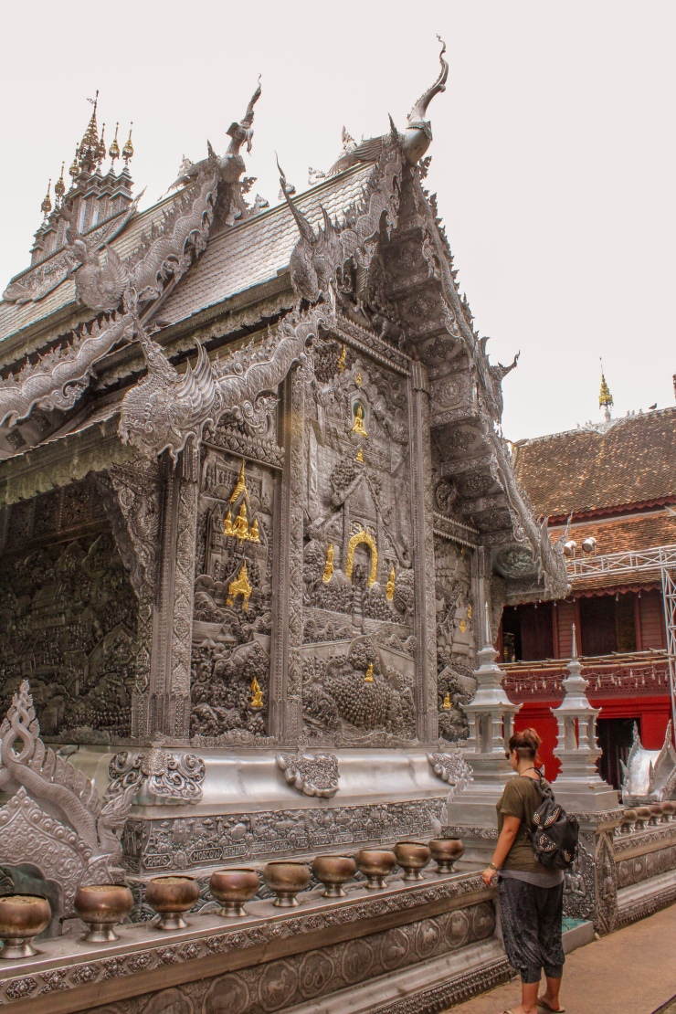 Steff admiring The Silver Temple in Chiang Mai, Thailand