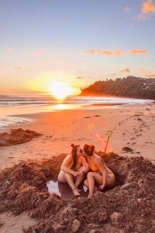 Beach, hot Water Beach, Coromandel, New Zealand,sea, sand, ocean, travel couple, lesbian couple, geothermal, spa, travel blog, travel couple blog, LGBT, LGBTQ, travel, adventure