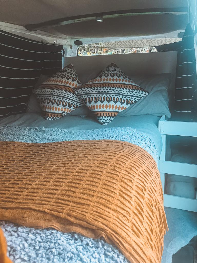 Double bed in basic van build / camper van build